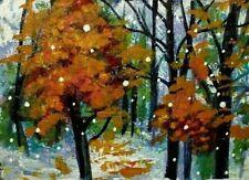 ORIGINAL ACEO AUTUMN TREE Snow PAINTING Night Leaves FALL Landscape ATC ART