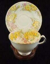 Sutherland Yellow and Pink Flower Teacup and Saucer, Floral Vintage