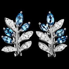 Ohrringe Blautopas London Blue & CZ 925 Silber 585 weißvergoldet