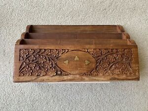 Vintage Thakat Wood Letter Post Rack Wood Carved with Metal Inlay.