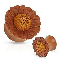 Organic Sawo Wood Saddle Fit Plug with Hand Carved Lotus Flower 0 gauge