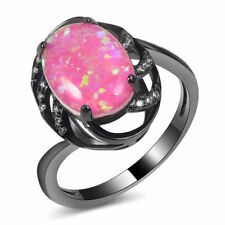 Art Deco Handcrafted Vintage Style Pink Fire Opal Black Gold Silver Ring 7 Gift