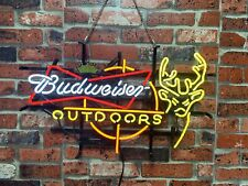 "New ListingNew Budweiser Outdoors Deer Crown Neon Light Sign 24""x20"" Beer Bar Lamp"