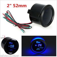 "Universal 2"" 52mm Black Cover Car Turbo Boost Gauge Meter Blue LED Display PSI"