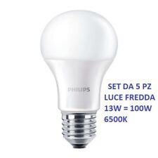set da 5 pz PHILIPS LED Lampadina  E27 Goccia 12,5W = 100W 6500K luce fredda