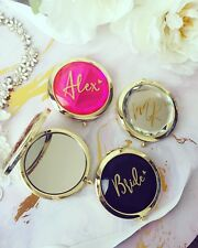Personalised pocket Mirror / Compact Mirror In Rise gold/ clear/Black / hot pink