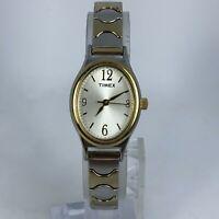 Timex Womens CR1216 Cell Two Tone Gold Silver Quartz Analog Bracelet Watch