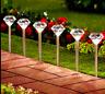 10 LED Solar Diamond Stainless Steel White Stake Lights Garden Border Lanterns