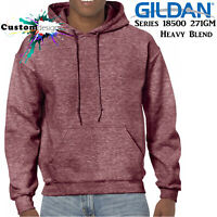 Gildan Heather Sport Dark Maroon Hoodie Heavy Blend Basic Hooded Sweat Men