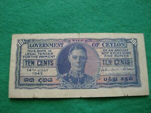 1942 Government of Ceylon 10 Ten Cents Banknote nice collectable grade