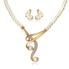 White Pearls Ivory Gold Wedding Bridal Jewellery Set Stud Earrings Necklace S941