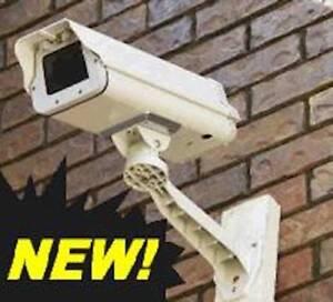 Fake Camera CCTV Metal Housing Surveillance Security+Flashing Red Led+Sign 4aa
