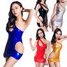 Women Sexy Metallic Mini Dress Bodycon Cut Out Clubwear Wet Look PVC Shiny Dance