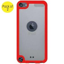 2 x iPod Touch 5/6 Gen SlimGrip Hybrid TPU Case Clear Back Cover - Cloudy/ Red