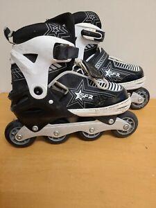 SFR Pulsar Adjustable Inline Skates - Size 3-6 Black White