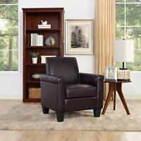Modern Faux Leather Single Sofa Armchair Accent Chair Brown Seating Club Chair