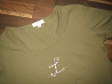 Laurel T-Shirt Top Gr.46 Grün mit Straß NEUWERTIG