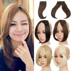 Fashion Long Clip In On Front Hair Bang Side Fringe Hair Extension Natural Bangs