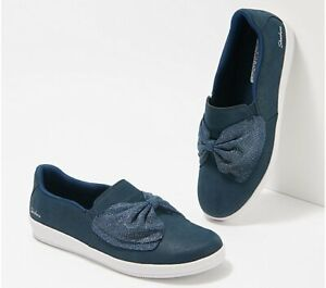 Skechers Microleather Slip-On Shoes w/ Bow - Madison Ave Sassy Stroll Navy 9W