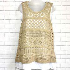 NEW YORK & COMPANY Medium Crochet Tan Sweater Sleeveless with White Camisole NWT