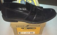 Men's Deer Stags Douglas Shoes Size 10.5 M Black Leather Tassels Loafers Slip On