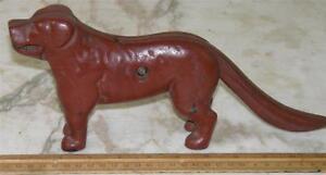 ANTIQUE PAINTED CAST IRON MECHANICAL DOG NUTCRACKER