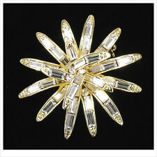 """Wedding Bridal Party Starburst Brooch Pin Pendant Crystal 1.7""""  Clear 3D Luxury"""