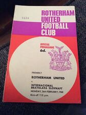 Rotherham United v Inter Bratislava 1968 Friendly Programme
