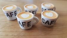 CAFE CUPS mugs resin cabochons or 1:6th scale dollshouse x5 pendants UK seller