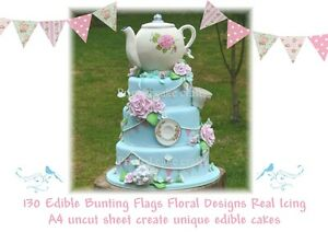65/130 Edible Bunting Flag Vintage Shabby Chic Floral Icing Cake Cupcake Toppers