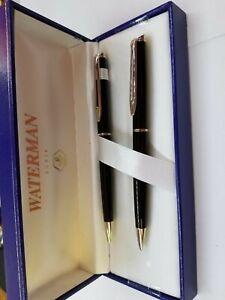 Waterman  Hemisphere Mars Black Ballpoint Pen & 0.5mm Pencil  Set In Box Mint *