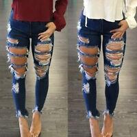Womens Denim Skinny Ripped Big Holes Jeans Pants High Waist Slim Pencil Trousers
