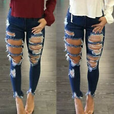 Women Denim Skinny Ripped Pants High Waist Stretch Jeans Frayed Pencil Trousers