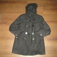 Zara  Black Wool Blend Toggle Hoodie  Coat  Women's Med (Z8-2)