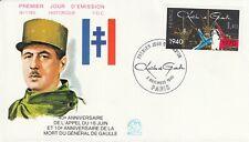 Enveloppe 1er jour timbrée GENERAL CHARLES DE GAULLE 1980 appel 18 juin