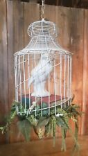 Antique Vintage Hanging Cage with Decorative Wise Owl on Books