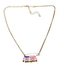 Bold Unique Paperclip Rustic Inspired Patriotic American Flag Neckalce(Ns8)