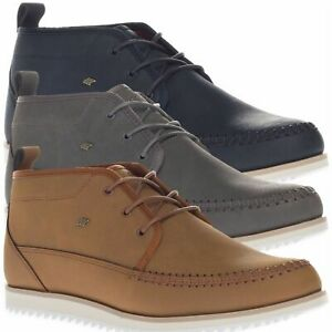 Boxfresh Men's Clyston Leather Mid Top Casual Blue Brown Grey Shoes