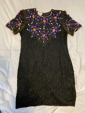 Vintage Vtg Stenay Black Multicolor Silk Beaded Sequin Evening Party Dress Sz XL