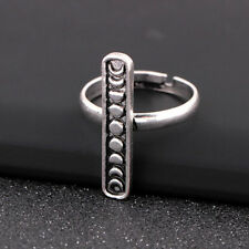 Retro Silver Moon Phase Ring Galaxy Stacking Ajustable Open Ring Jewelry Gift