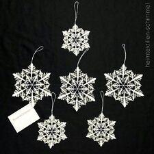 PLAUENER STICKEREI ® Fensterbild 6er SET BAUMBEHANG weiß-gold Weihnachten STERNE
