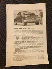 Dodge Sedan OR Fiat 500-C Coupe -  1951 Book Page