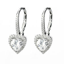 Diamonique CZ Micro Pave Heart Leverback Earrings Real 925 Sterling Silver
