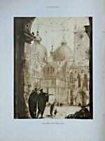 PHOTOGRAVURE DE PRESSE 1926 VENISE LA PLACE SAINT-MARC ET LE PALAIS DUCAL