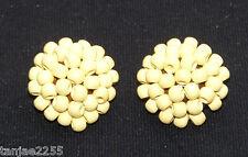 50er Jahre Ohrringe Clips Vintage Gelb Holz  Modeschmuck (422)