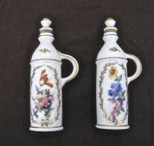 "Oil and Vinegar Cruet Set Porcelain Made in France 5 1/4"" Tall"