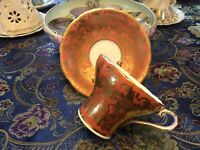 Antique ANYSLEY TEA CUP AND SAUCER Burnt Orange, Cream, Gold Trim Hand Painted