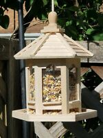 Bird Feeder Hanging Wood Gazebo seeder great gift fast ship 2lb capacity