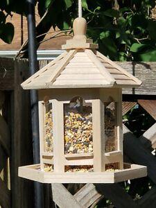 Bird Feeder Hanging Wood Gazebo seeder great gift fast ship 2lb capacity