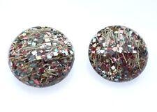 Vintage Lucite Confetti Multi color Strands Bubble Round Clip on Earrings